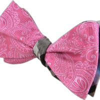 Wow Paisley - Pink/Silver (Reversible Bow Ties) - Wear Your Good Tie. Every Day