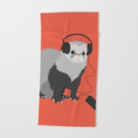 Music Loving Ferret Beach Towel by Boriana Giormova