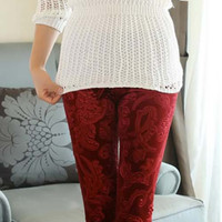 Bordeaux Red Embossed Velvet Leggings Design 192