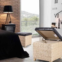 Square Storage Ottoman / Stool with Bulrush Body & Black Eco Leather Lid
