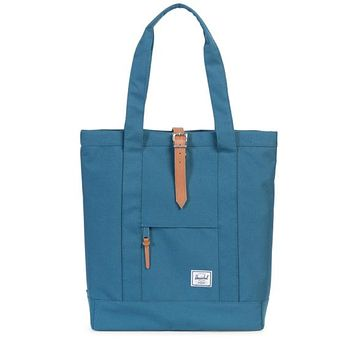Herschel Supply co. - Women's Market Tote in Indian Teal/Tan Pebbled Leather