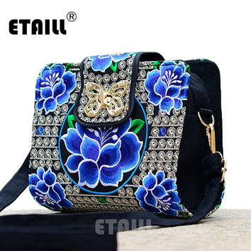 Double Side Chinese Hmong Vintage Ethnic Embroidered Bags Embroidery One Shoulder Cross-body Women Luxury Brand Messenger Bag