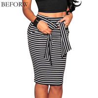 BEFORW Brand Skirts Womens Fashion High Waist Stripe Lacing Skirt Plus Size White And Black Sexy Bodycon Long Skirt For Women