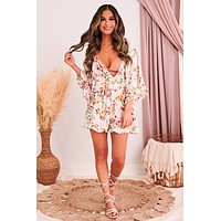The Tropic's Are Calling Floral Romper (Ivory)