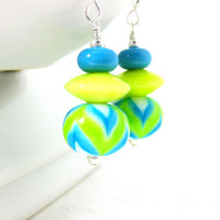 Chevron Earrings, Geometric Earrings, Colorful Lampwork Earrings, Blue Yellow Green Earrings, Glass Earrings, Chevron Jewelry - Zigzag