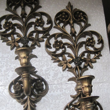 Vintage/Candle Holders/Antique Gold/ Wall Decor//Marked Burwood Co. 1970/Set of Two/Home Decor
