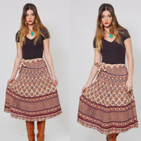 Vintage INDIAN Wrap Skirt ETHNIC Hippie Skirt Cotton Boho Festival Midi Skirt