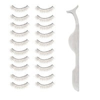 High Quality Professional Make Up Beauty Set of 10 Pairs Handmade Fake False Eyelashes And Eye Lashes Applicator Tool With Metal Handles / Grips By VAGA