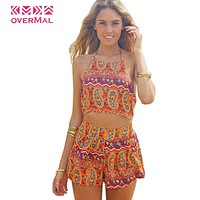 Women Sexy Vintage Straps Sunflower Print Jumpsuits Hot Pants Playsuit Shorts Rompers lady Floral Backless Frenum Chiffon Pant
