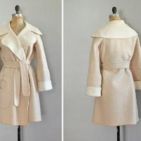 vintage MARSHMALLOW wool wrap coat by DearGoldenVintage on Etsy