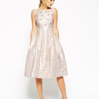 ASOS SALON Crystal Bodice Jacquard Prom Dress