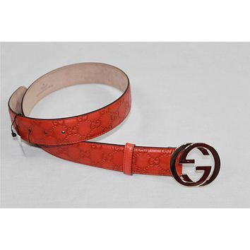 AUTH Gucci Guccissima Leather Belt With Interlocking G Buckle 32