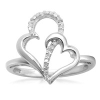 Sterling Silver Diamond Double Heart Ring (1/20 cttw, I-J Color, I3 Clarity)