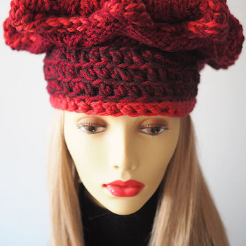 Red hat - Hand knit hat - Chunky knit hat - Red crochet beanie - Burgundy toque - Crochet crown - Women winter hat - Fall accessories - OOAK
