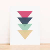 Triangle Pink, Blue, Mint, and GoldGeometric Art PRINTABLE Art Dorm Decor Typography Poster Home Decor Office Decor Apartment Poster