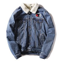 Champion New fashion bust side embroidery logo and back letter print cowboy keep warm couple long sleeve top coat