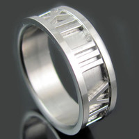 BlackJack Stainless Steel Ring Size 9 Roman Numerals Wedding Band Engraved Personalized Inside Ring Engraving BJR33-9