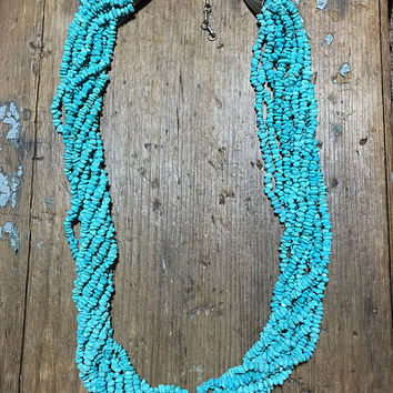Turquoise Nugget Bead Multi-Strand Necklace Sterling Silver
