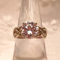 Vintage Flawless Large Diamond Cubic Zirconia CZ Gold Ring Size 6 with Braided Band and CZ Accents