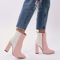 Mode Two-tone Ankle Boots in White