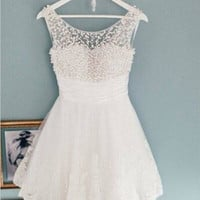 Homecoming Dress,White Lace Pearl Beading Short Prom Dress
