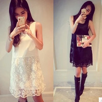 Sale 2016 Casual Dress Mini Sleeveless Bohemian Robe Sexy White Lace Dress Boho Dress Loose Dress Plus Size Women Clothing Tunic