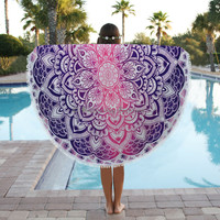 Indian Ombre Round Tapestry Wall Hanging, Mandala Circle Beach Towel, Blanket Beach Throw, Oversize Towel Decor