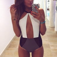 Lone piece swimsuit deep V swimwear,High cut bathing suits