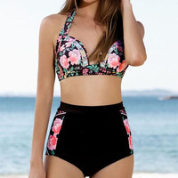 S-3XL PLUS SIZE Hot sale black halter rose print high waist two piece bikini