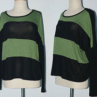 Women Round Neck Green & Black STRIPE Knit Pullover Light Sweater Loose Fit