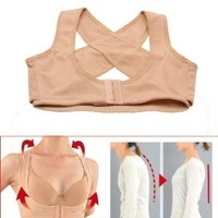 ieasysexy 2014 style Adjustable underwear Lady Chest Breast Support Belt Band Posture Corrector Brace Body Sculpting Strap Back Shoulder Vest X Type Pattern Prevent Chest sagging outside enlarge on the chest for female/women (M)