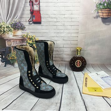 lv louis vuitton trending womens men leather side zip lace up ankle boots shoes high boots 170
