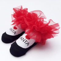 Lace Baby Red Christmas Winter Cotton Style Socks [8854574214]