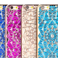 New Luxury 3D Electroplating Flowers Rhinestone Bling Soft TPU Phone Cases Cover For iPhone 7 7Plus 5 5G 5S SE 6 6G 6S 4.7 6Plus -0328