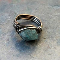 Labradorite ring, wire wrapped, reiki, crystal healing, boho