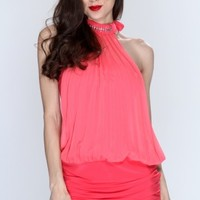 Coral Pleated Halter Dress @ Amiclubwear sexy dresses,sexy dress,prom dress,summer dress,spring dress,prom gowns,teens dresses,sexy party wear,women's cocktail dresses,ball dresses,sun dresses,trendy dresses,sweater dresses,teen clothing,evening cocktail