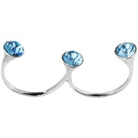 Sterling Silver 925 Aqua CZ Double Toe Ring | Body Candy Body Jewelry