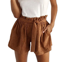 Brown Suede Flounced Waist Short Pants with Sash