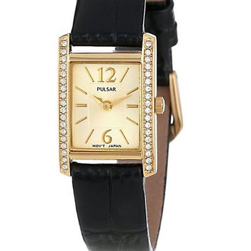 Pulsar Women's Crystal Accented Dress Black Leather Strap Watch