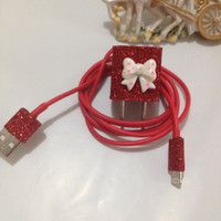 Customized Glitter IPHNOE 5 Charger IPAD Mini In different colors glitter & 3 in 1 Charger