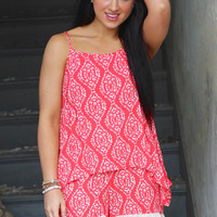 Damask + Lace Romper {Coral}
