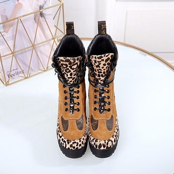 lv louis vuitton trending womens black leather side zip lace up ankle boots shoes high boots 331