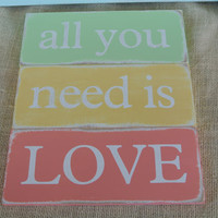 all you need is love painted wooden sign mint green sunflower yellow melon home decor dorm decor room decor