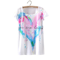 White Watercolor Heart Print T Shirt
