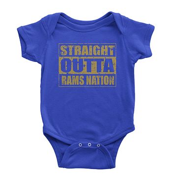 Straight Outta Rams Nation Football  Infant One-Piece Romper Bodysuit