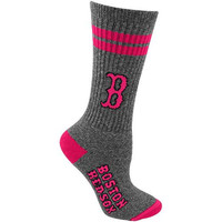 Boston Red Sox Ladies Two Stripe Marble Socks - Charcoal/Pink