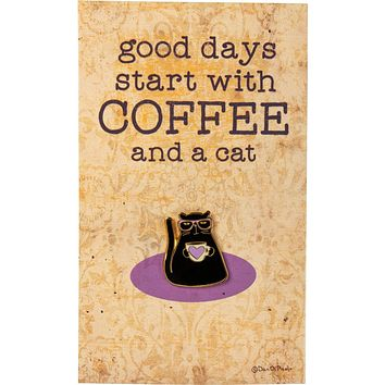 Black Cat Good Days Coffee And Cat Enamel Pin on Gift Card