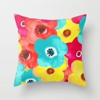 painted flowers; Throw Pillow by Pink Berry Patterns