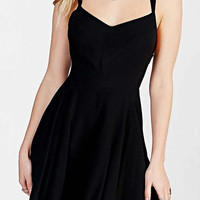 Black Spaghetti Strap Strappy Backless Skater Dress