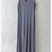 | SEXY | Ink Vintage Blue | MICHAEL STARS | Soft Cotton Maxi V-Neck Dress | O/S